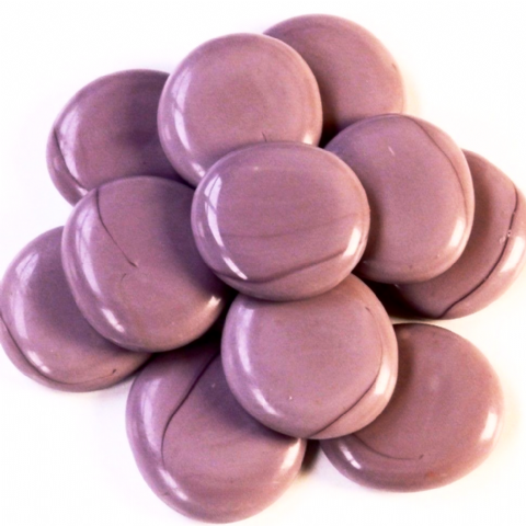 6 Large Glass Pebbles - Lilac Marble